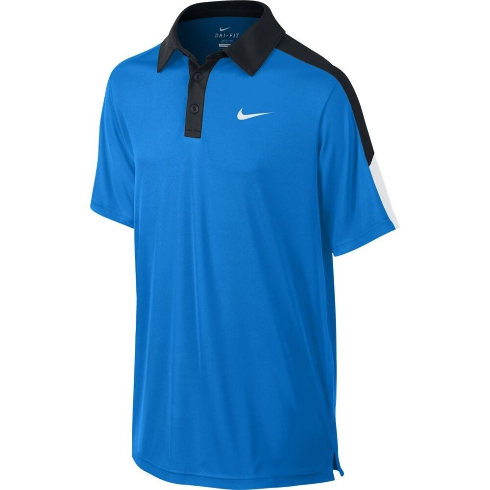 6f845df7 Details about New Nike Boys Dri-Fit Tennis Polo Shirt Blue/White/Black  642071-409