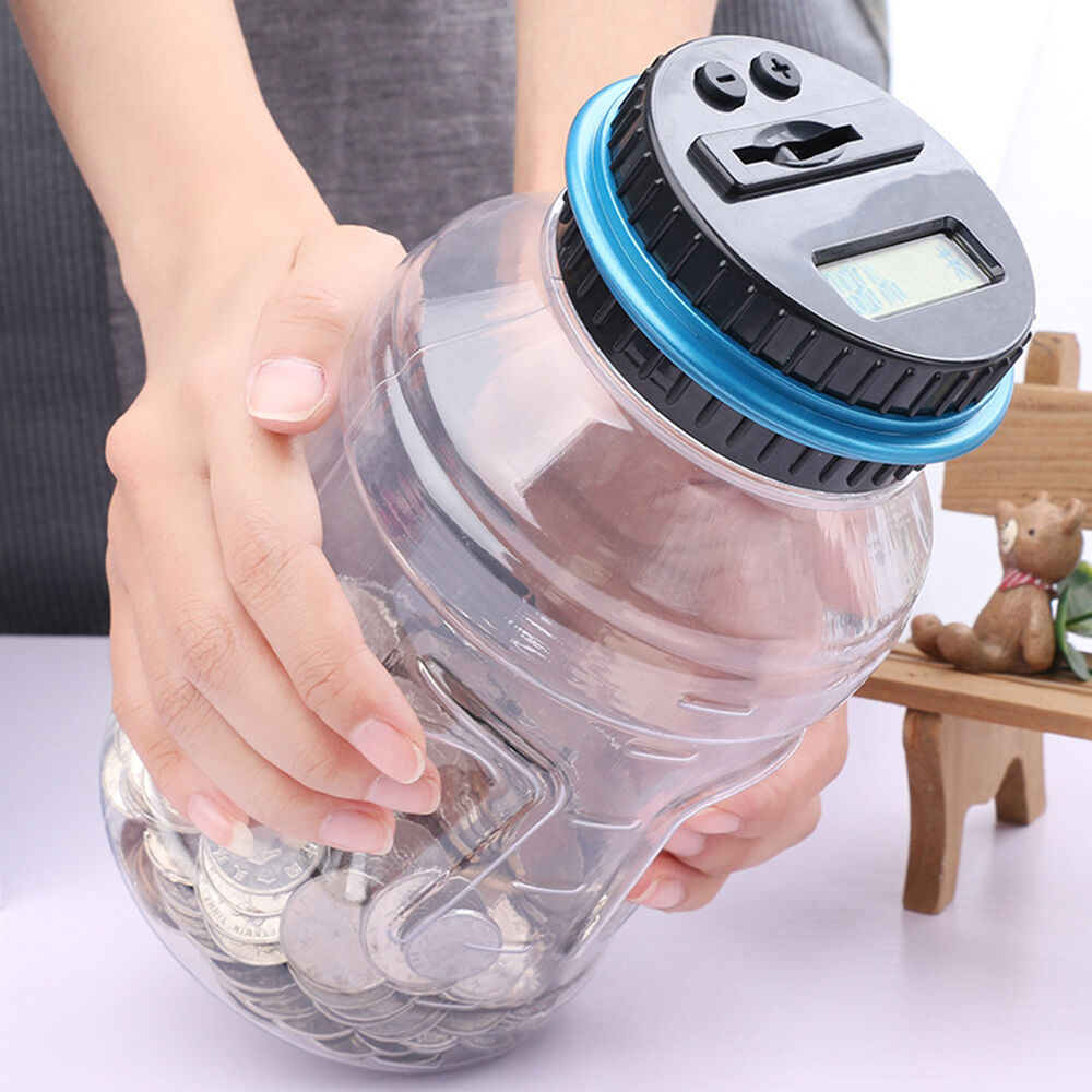 Digital coin saving money boxes jar automatic electronic rmb counting piggy bank ebay - Counting piggy bank ...
