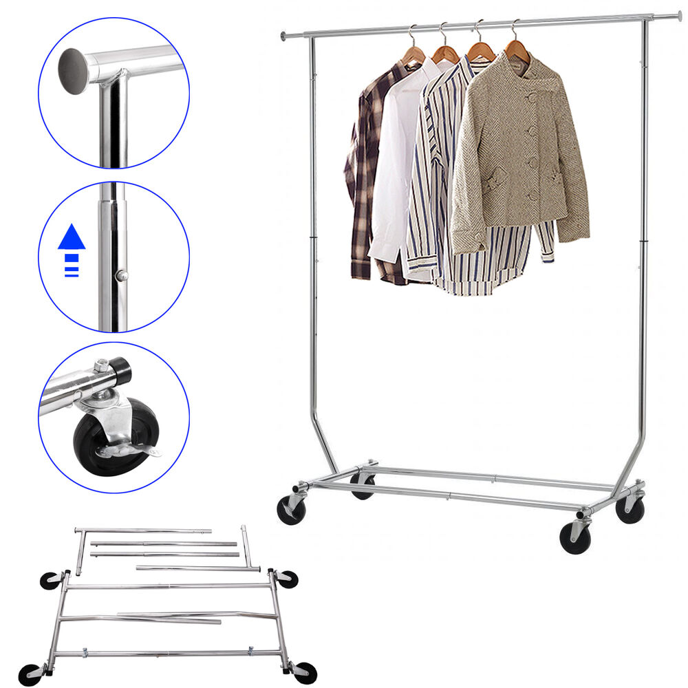 garment rack collapsible commercial grade heavy duty clothing on rolling 613852625965 ebay. Black Bedroom Furniture Sets. Home Design Ideas