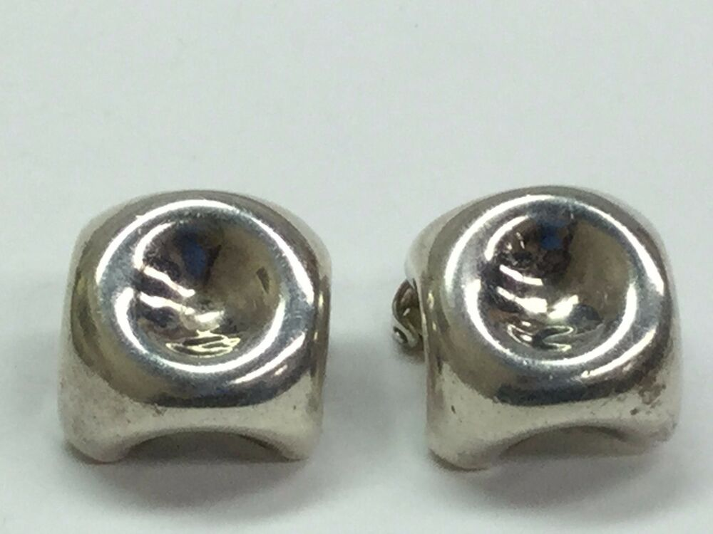2cdb9837a Details about INGER K Modernist 925 Sterling Silver Clip On Earrings