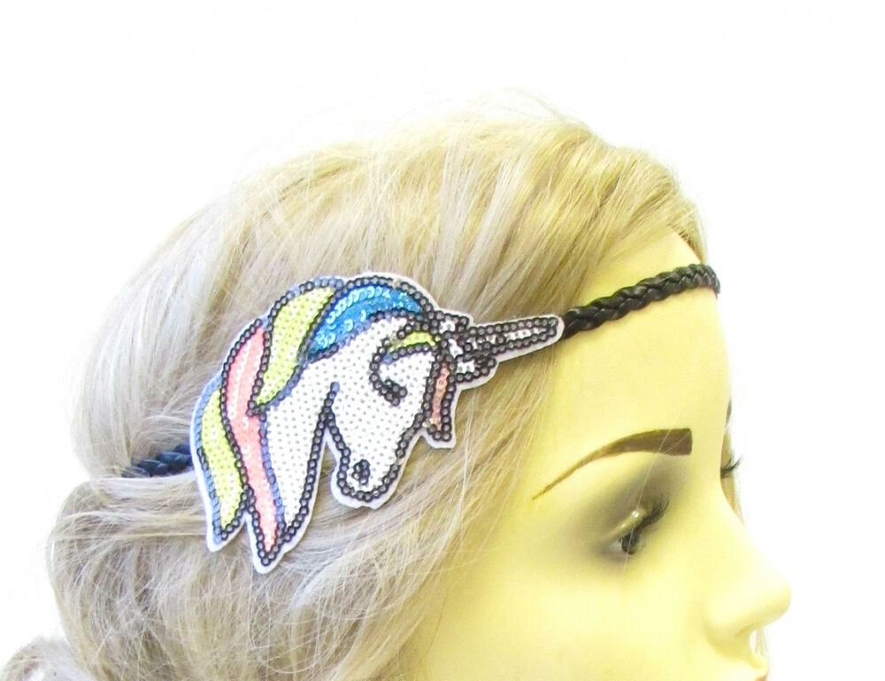 Details about White Black Sequin Unicorn Headband Hair Band Headpiece  Festival Boho Blue 1585 1269d3cad59