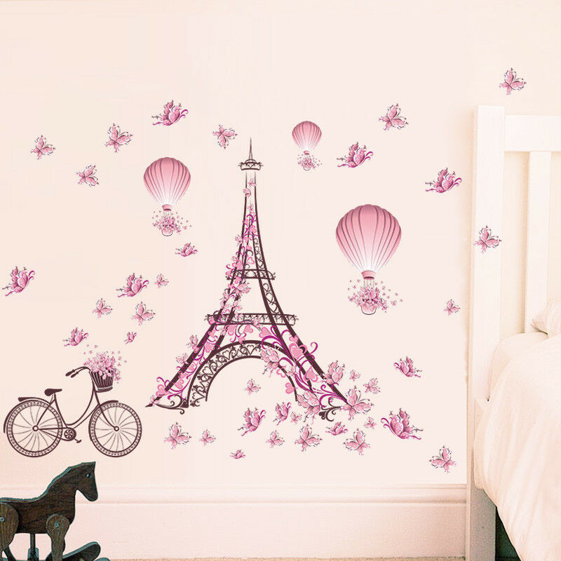 wandtattoo m dchen paris herz pink rosa blumen frau schmetterling wohnzimmer ebay. Black Bedroom Furniture Sets. Home Design Ideas