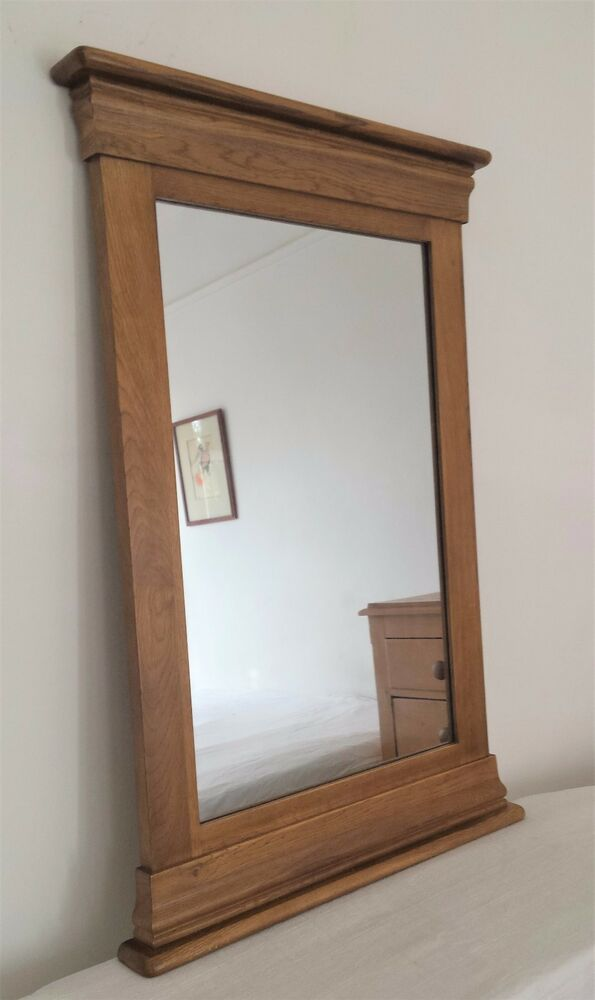 Country style oak pedestal wall hall mirror rustic church for Church style mirrors