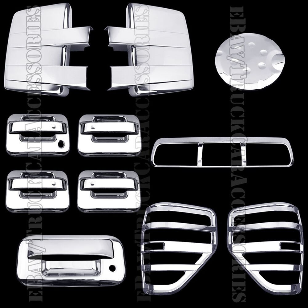 chrome covers for ford f150 2009 2014 mirror door tailgate bezel brake light. Black Bedroom Furniture Sets. Home Design Ideas