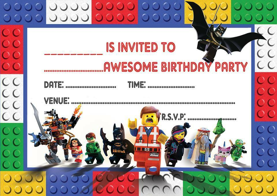 LEGO MOVIE BIRTHDAY PARTY INVITATIONS INVITES WITH OR ...