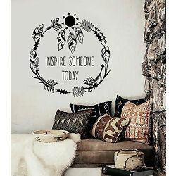 Vinyl Wall Decal Inspire Quote Ethnic Style Room Feathers Stickers (ig4235)
