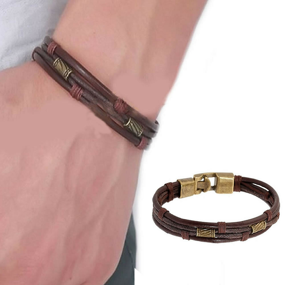 Cuff Bangle Bracelet: Mens Vintage Leather Wrist Band Brown Rope Bracelet Bangle