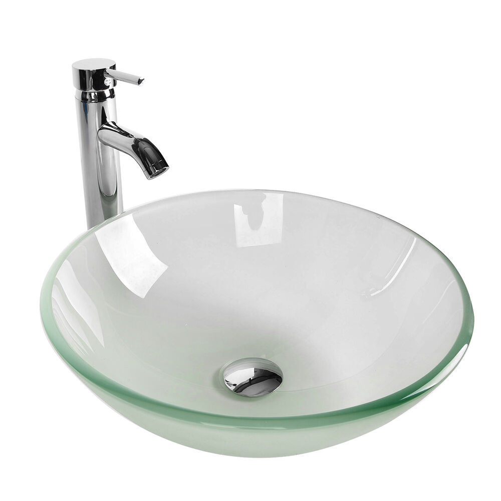Bathroom Frosted Clear Glass Vessel Sink Bowl Chrome