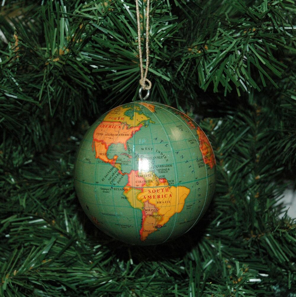 World globe earth christmas ornament ebay List of christmas ornaments