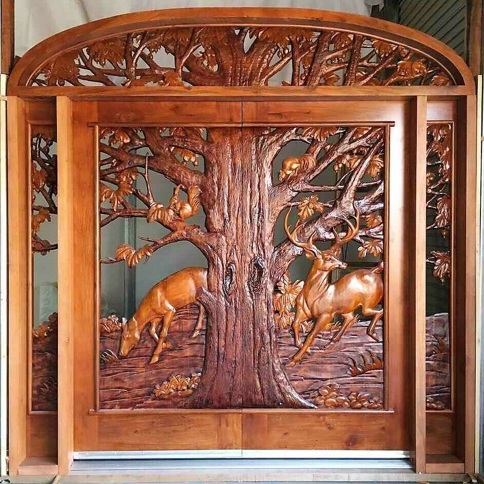 Custom Designed Hand Carved Solid Wood Door By Monarch