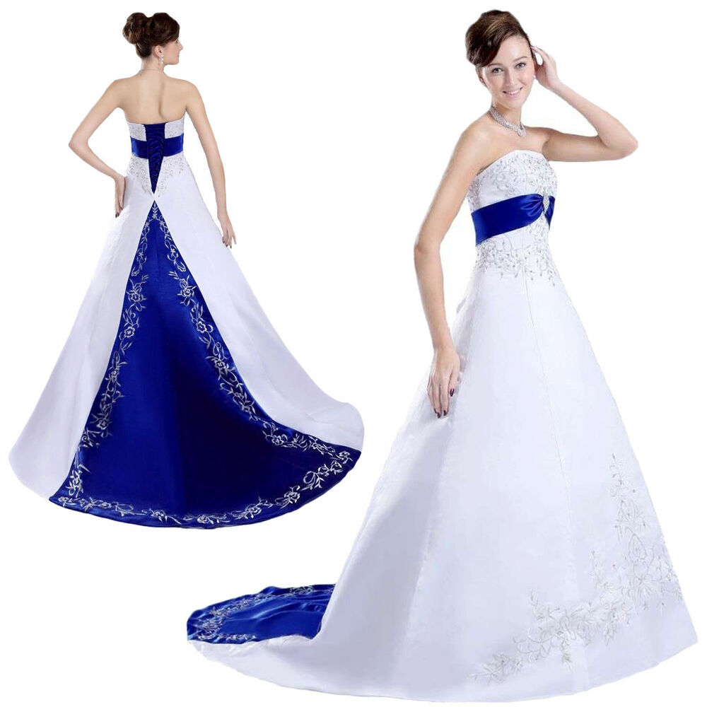 White And Royal Blue Embroidered Satin Wedding Dresses