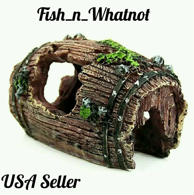 Aquarium barrel cave ornament natural decoration fish tank for Natural fish tank
