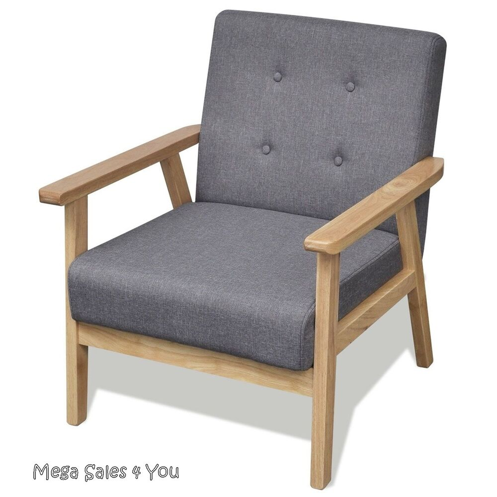Retro wooden armchair reclining grey chair relax seat for Armchair furniture