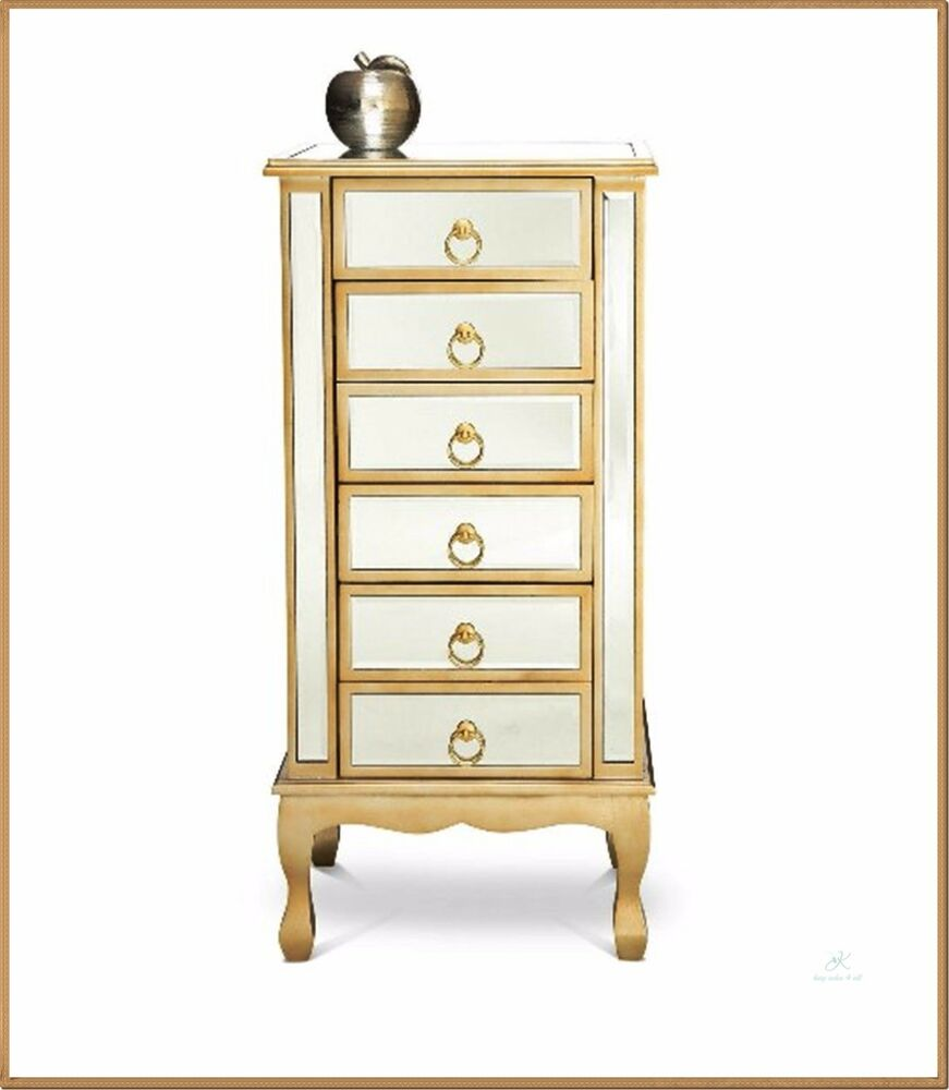 venetian mirrored tallboy french chest of drawers chic glass furniture tall gold ebay. Black Bedroom Furniture Sets. Home Design Ideas