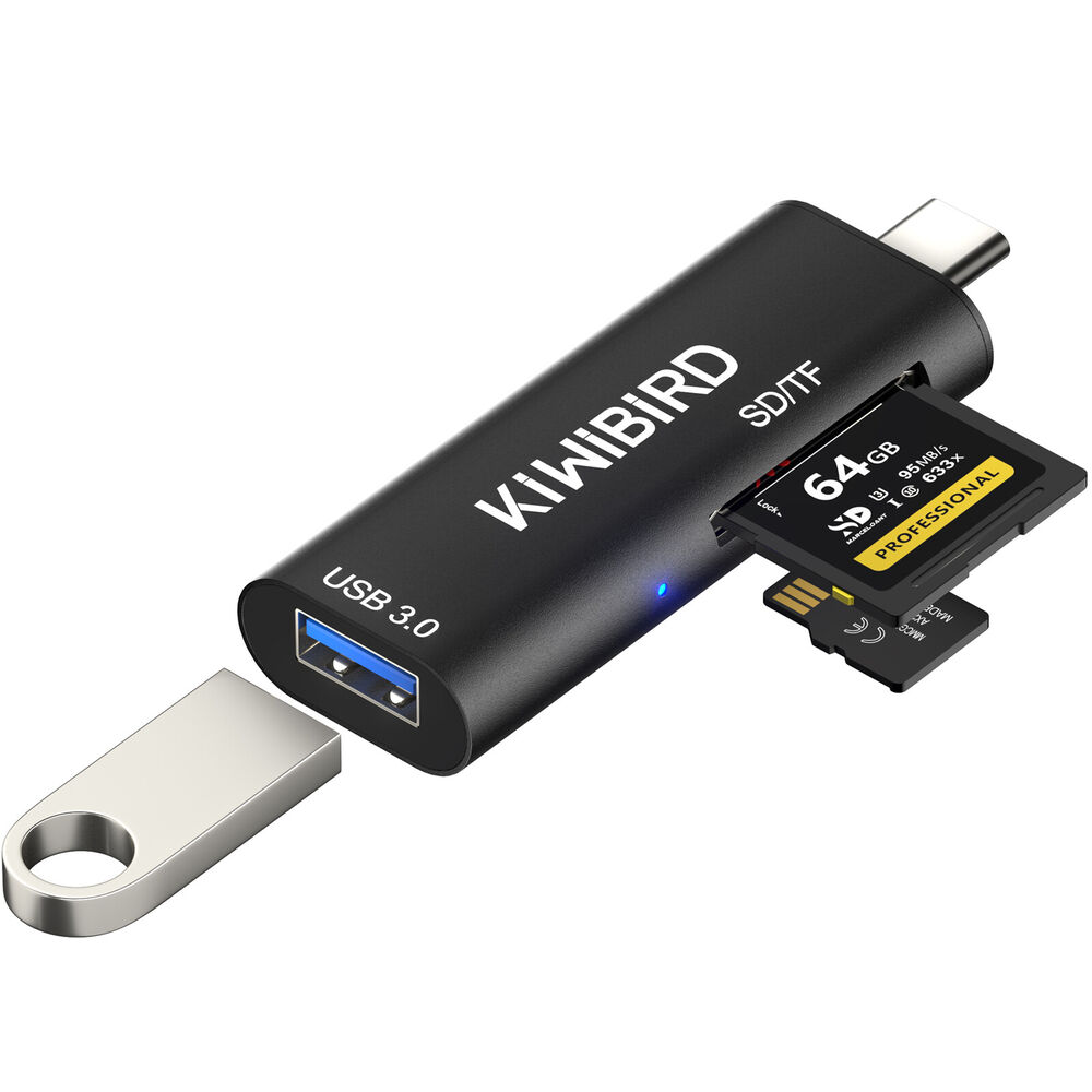 Usb Sd Apple Adapter: KiWiBiRD USB Type-C SD/Micro SD Card Reader, USB-C To