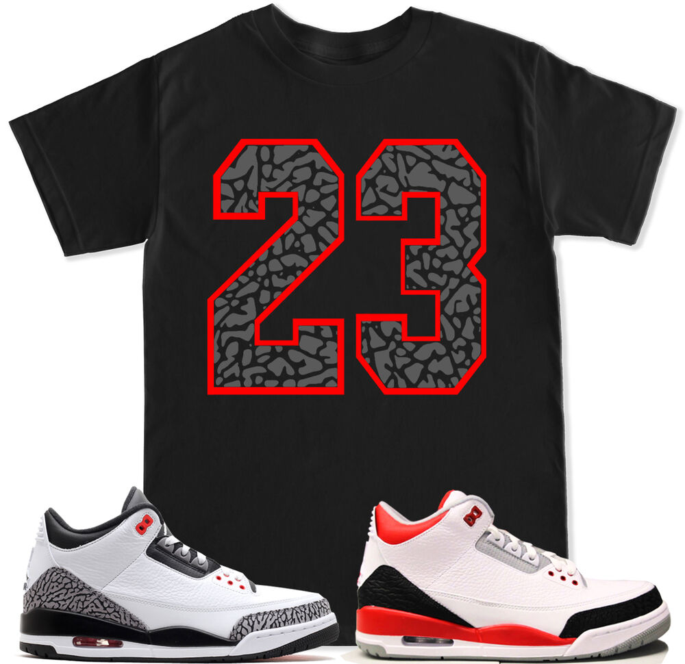 separation shoes 61e2b 27a84 Details about 23 Cement Red T Shirt to match with Air Jordan Retro 3 White Black  Cement Shoes