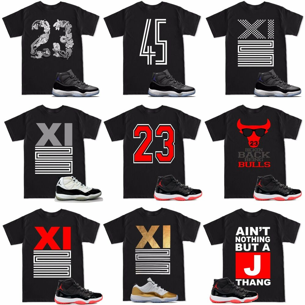 176e314d0c76a5 Details about Space Jam 11 Retro 11 XI 23 Varsity Bred T Shirt to match  with Air Jordan Shoes