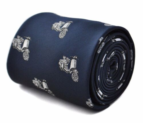 Frederick Thomas Navy Mens Tie with Scooter Design RRP£19.99 FT1787