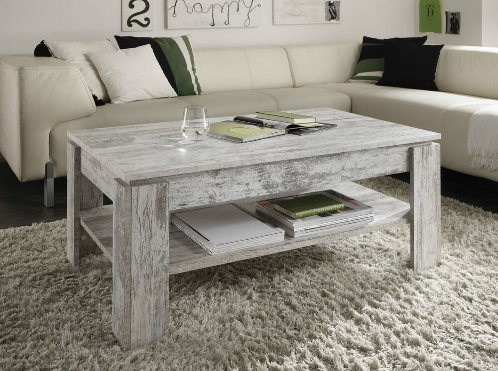 Coffee table living room pine white shabby side with shelf wooden