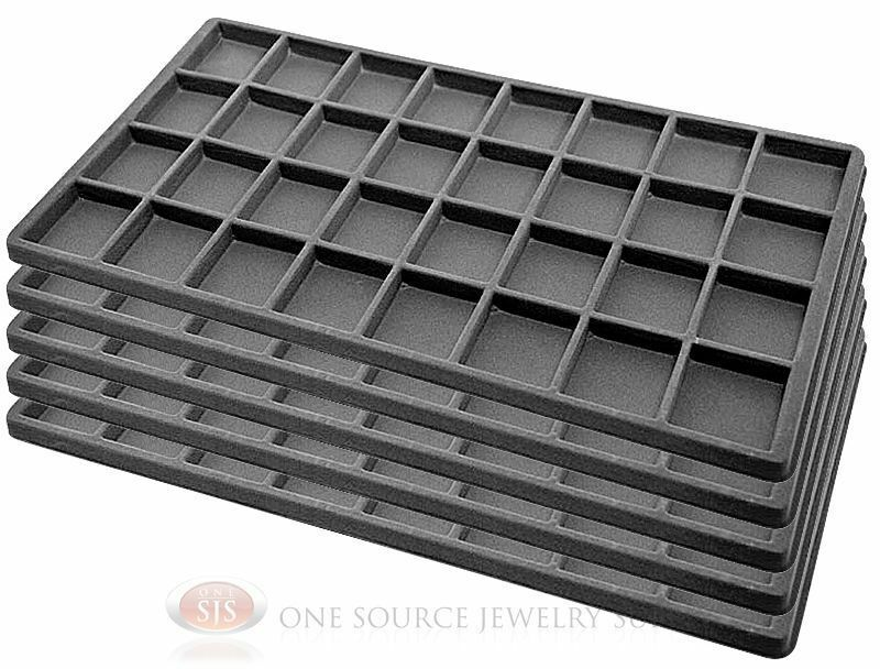 5 gray insert tray liners w 32 compartments drawer Liner 5 50 x 1 32