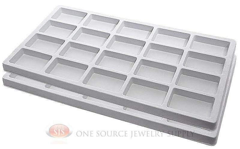 2 White Insert Tray Liners W 20 Compartments Drawer
