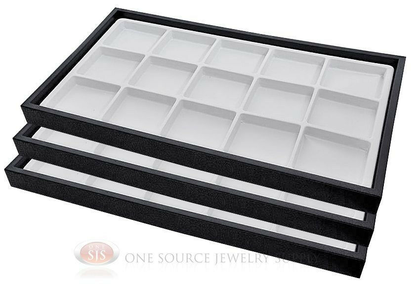 3 black plastic stackable trays w 15 compartment white