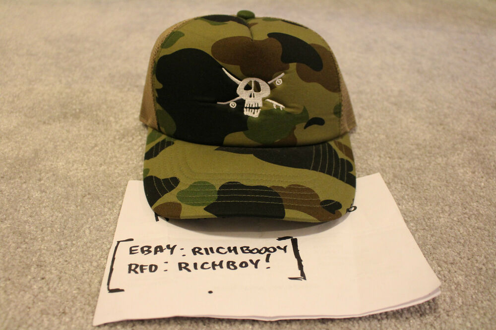 Details about  NEW  DS Bape x Stussy Green Camo Skull 30th Anni. Trucker Hat  - A Bathing Ape d48d05c92d8