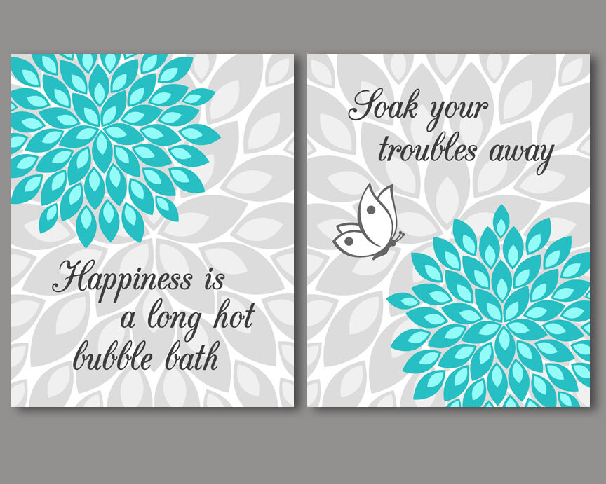 2 prints art for bathroom wall decor quotes sayings for Bathroom wall decor quotes