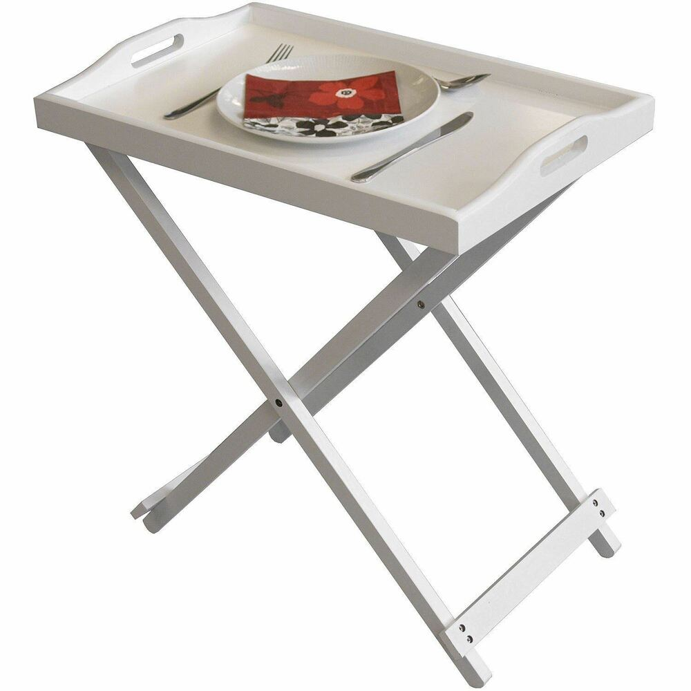 New white wooden folding butler breakfast laptop tray side for Tray side table