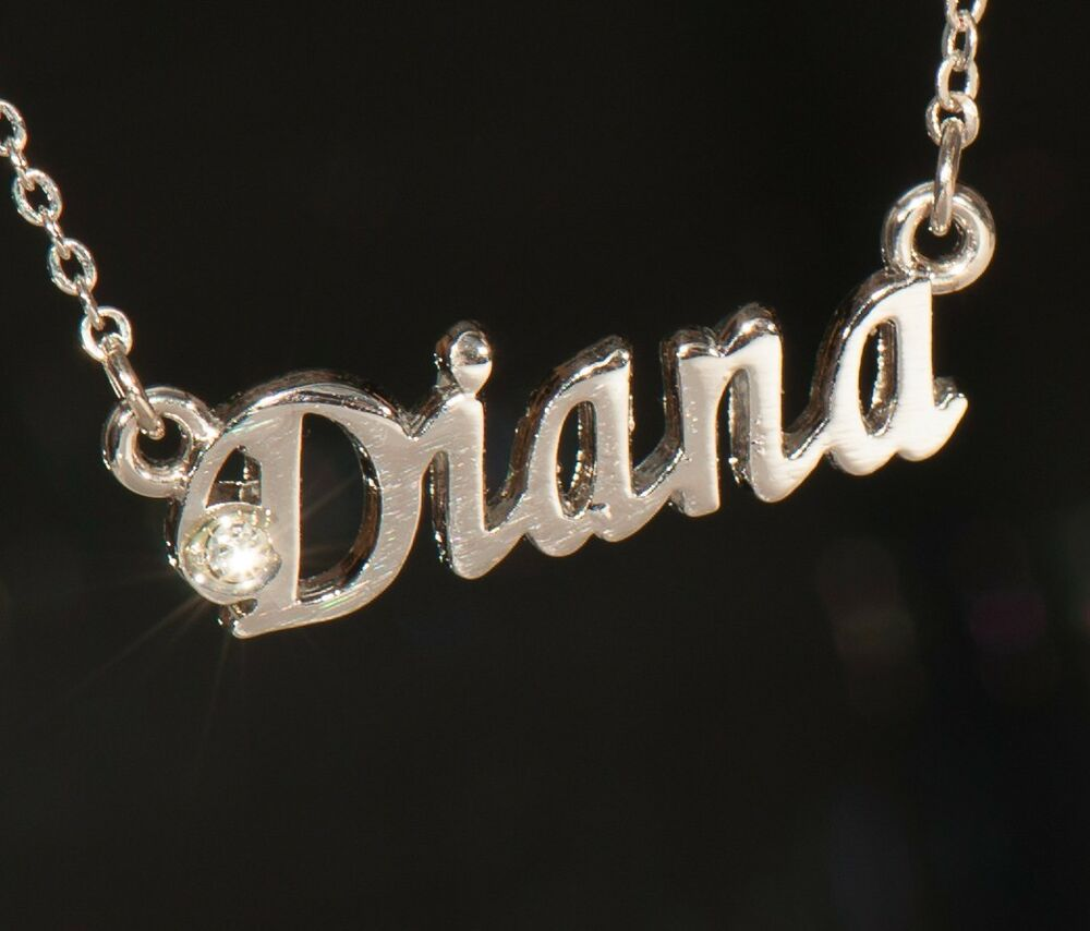 Diana Name Necklace With Rhinestone Gold Or Silver Tone Ebay