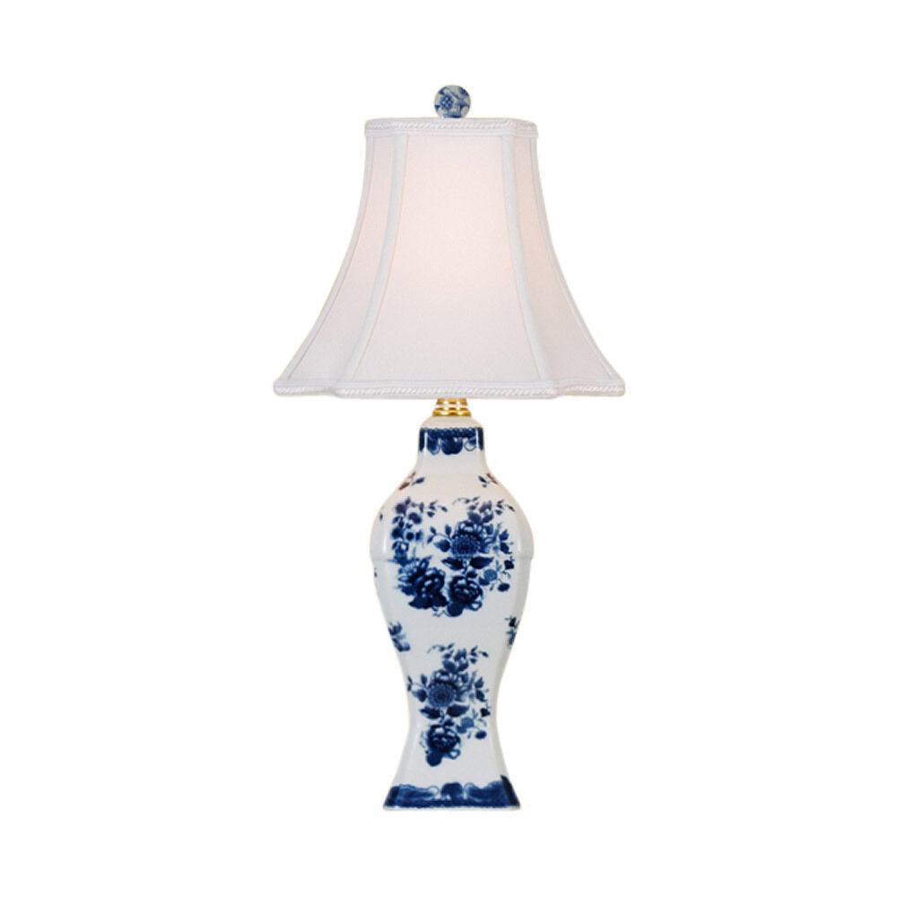Cute Blue And White Porcelain Floral Motif Vase Table Lamp