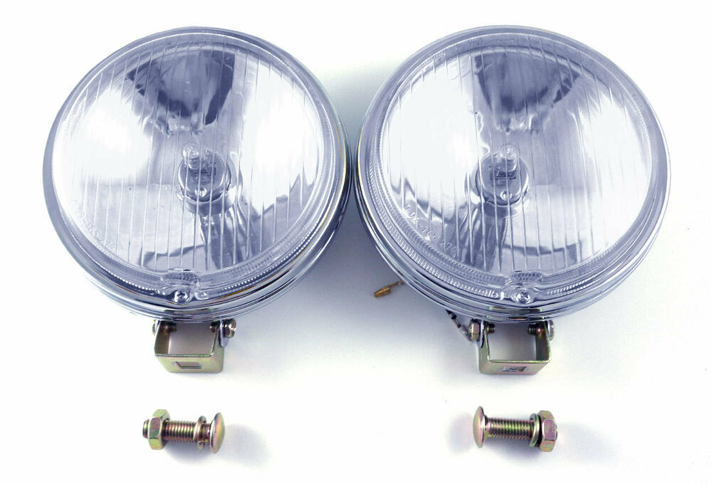 vw clear 6 u0026quot  flat face 12v vintage driving lights chrome
