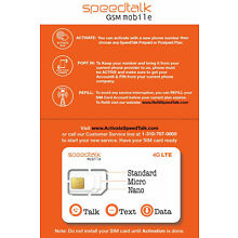 SpeedTalk Mobile 3 in 1 GSM SIM Card Starter Kit Prepaid Service - No Contract