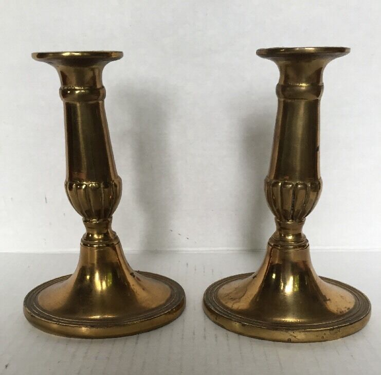 Antique old solid brass mantle candlesticks candle holders for Mantle holders