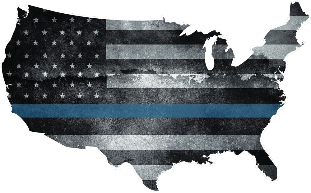 Usa Map Thin Blue Line Decal Us Tattered American Flag Police Sticker 5 Ebay