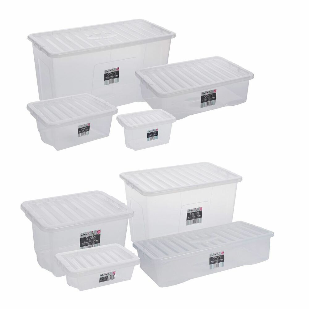 Acrylic Boxes With Lids Uk : Home office storage box contianer large clear plastic with