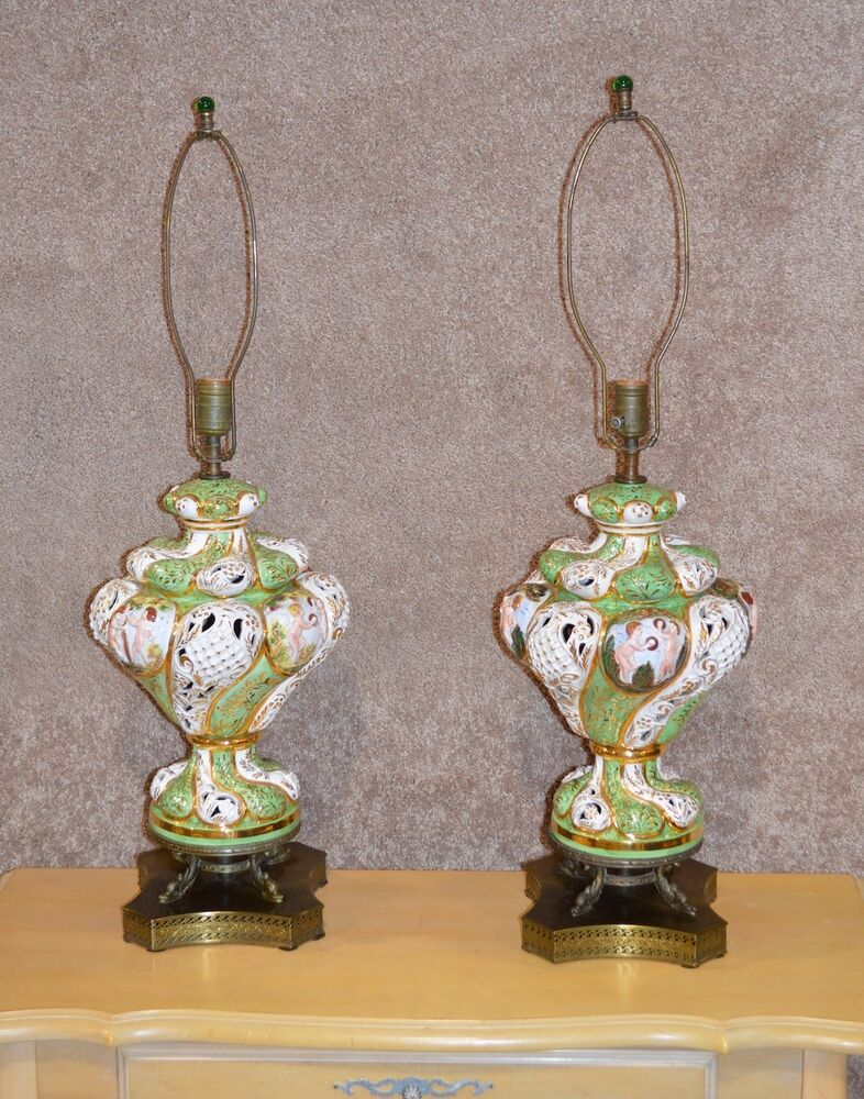 Capodimonte Porcelain Table Lamp : Vintage pair of italian capodimonte table lamps ebay