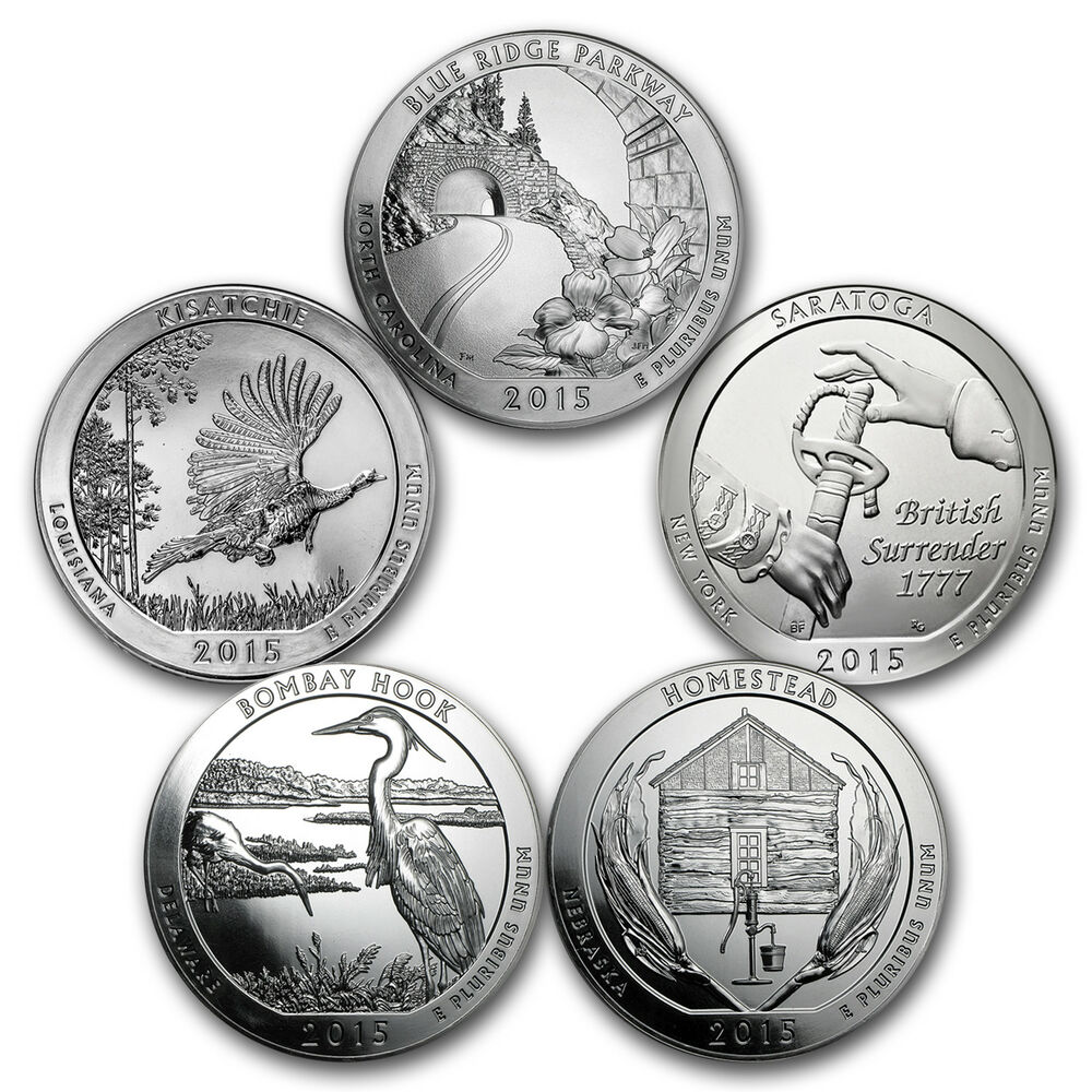 2015 5 Coin 5 Oz Silver America The Beautiful Set Sku