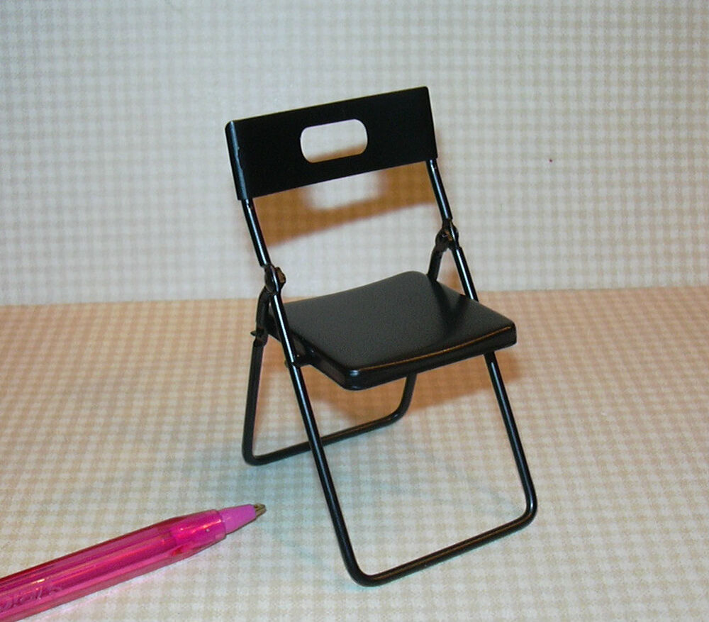 Miniature Black Metal Folding Chair For DOLLHOUSE