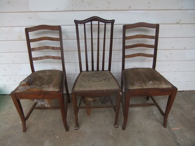 3 Old Original TIMBER Kitchen Table DINING CHAIRS Wooden Furniture Antique Re