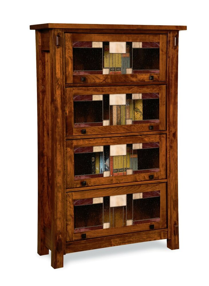 amish handcrafted barrister bookcase craftsman leaded glass solid wood 40 x 64 ebay. Black Bedroom Furniture Sets. Home Design Ideas