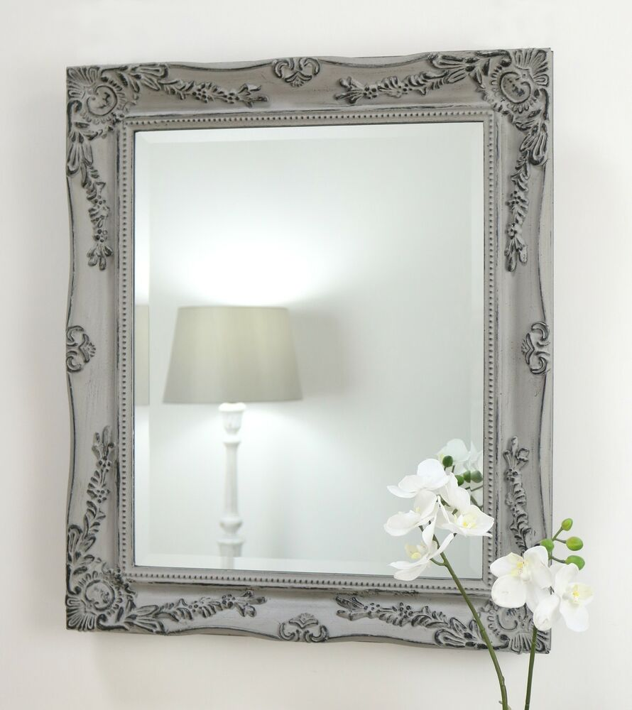 Isabella vintage grey shabby chic rectangle antique wall for Antique wall mirrors