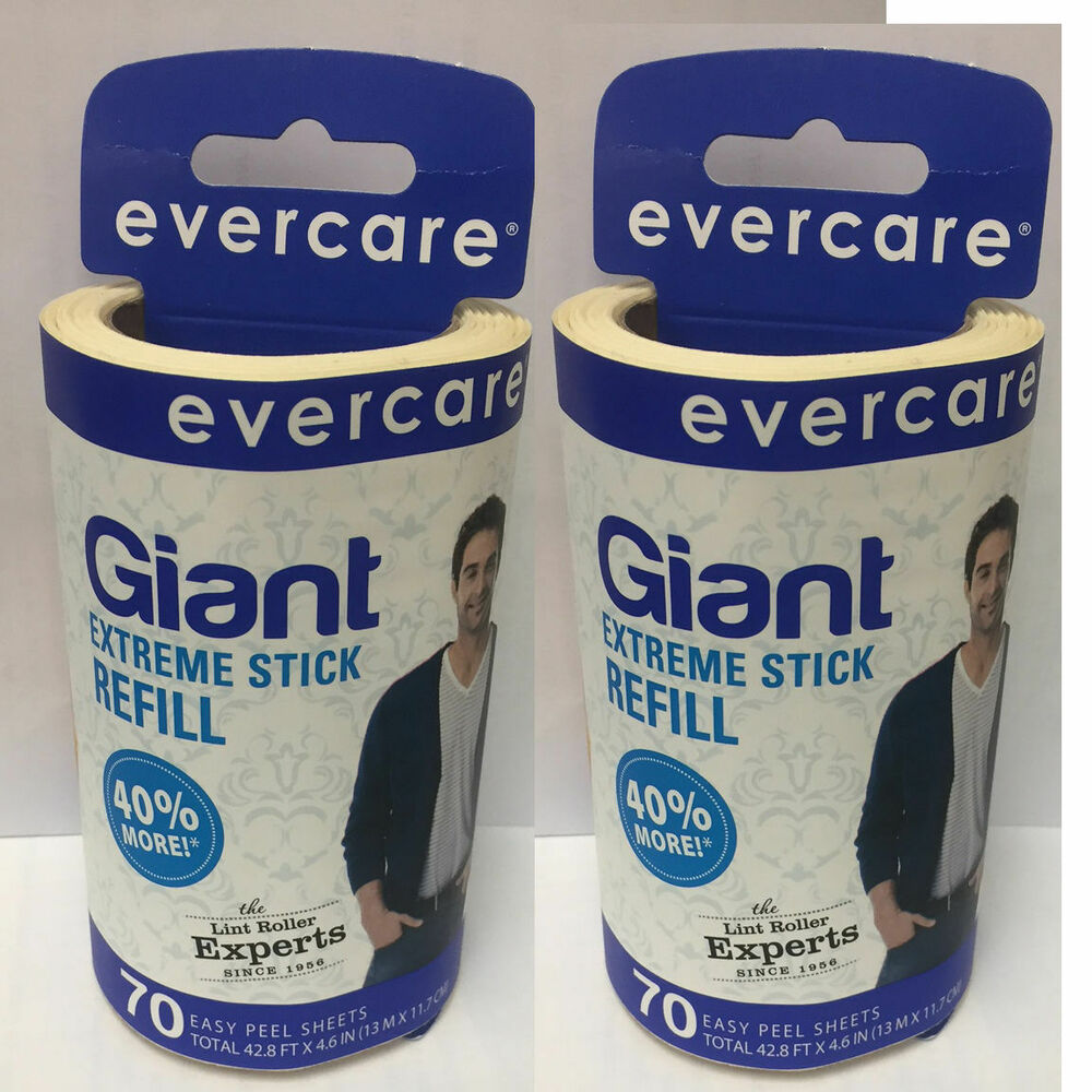 Evercare Giant Extreme Stick Lint Roller Refill 70 Sheets