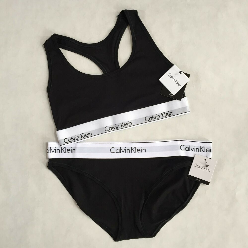 753d86cd0 Calvin Klein Black Bralette   Boyshort Set Modern Band 2 pc