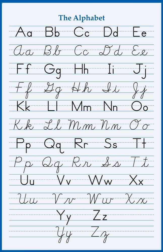 alphabet handwriting cursive poster 24 x 36 inch school. Black Bedroom Furniture Sets. Home Design Ideas