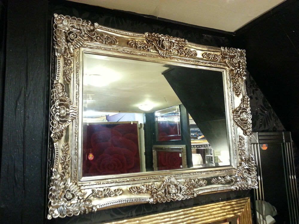 Silver Mirror Wall Photo Frame: Antique Champagne Silver Ornate Vintage French Beveled