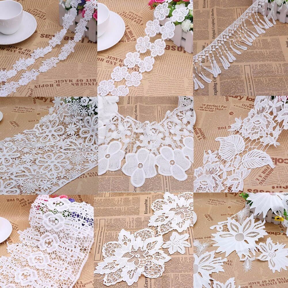 Vintage embroidered lace edge trim ribbon wedding applique for Applique vintage