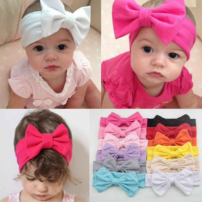 Details about Toddler Girls Kids Baby Big Bow Headband Stretch Turban Knot  Head 882dd25bc8d