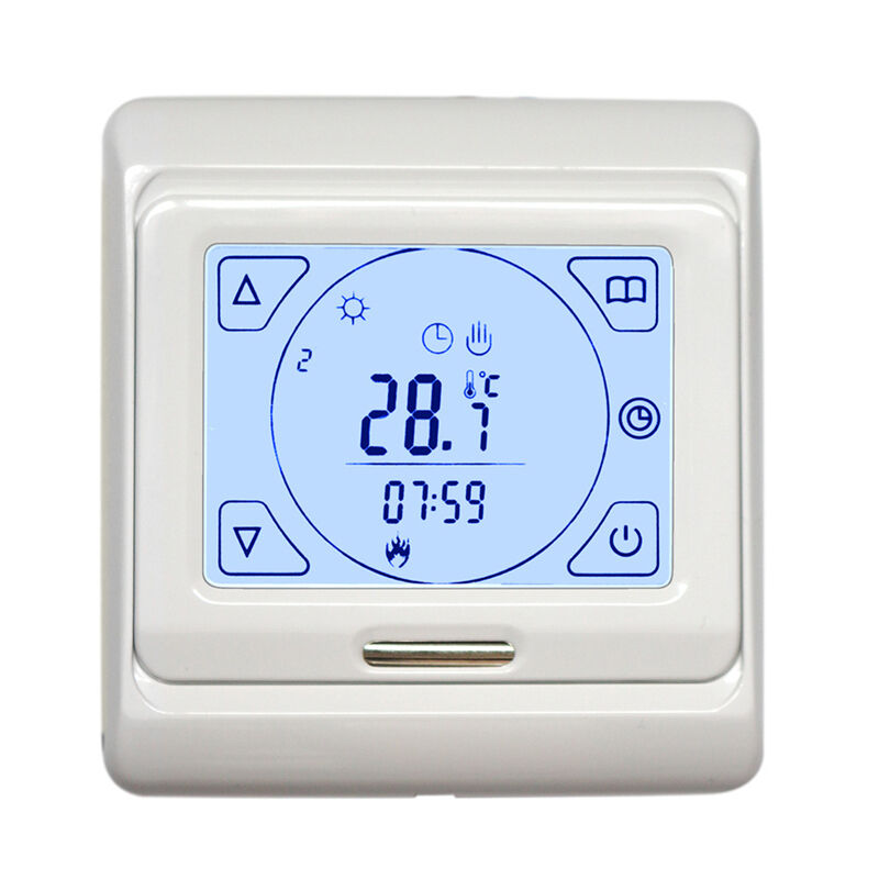 touch screen lcd programmable floor heating thermostat controller temperature ebay. Black Bedroom Furniture Sets. Home Design Ideas