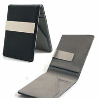 Men s Pu w Silver Money Clip Slim Wallet